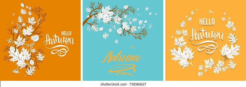 Autumn leaves cards set. Template for design banner, ticket, leaflet, card, poster and so on. A wreath or branch silhouette is a beautiful mix of leaves. Autumn motive