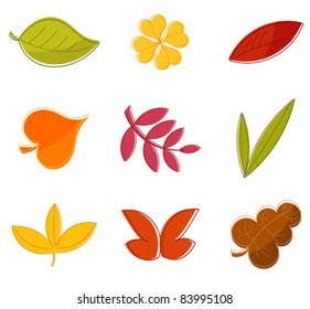 Autumn leaves collection - design vector elements