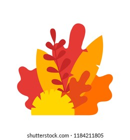 Autumn leaves composition. Vector yellow tree leaf isolated on white background. Illustration of beech, chestnut, linden, oak, willow, birch, hawthorn, maple, hornbeam ash-tree leaf