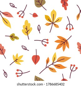 Autumn leaves cute seamless pattern. Colorful fallen leaves and berries flat illustration. Autumnal wallpaper or textile design in vector