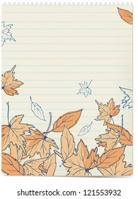 autumn leaves doodles background