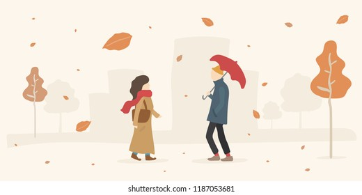 Autumn Leaves Fall Romantic Date Meeting in a Park. Woman in a Coat and Scarf. Man in Yellow Hat with Umbrella. Hipster Love Concept. Flat Colorful Characters Walking. Orange Trees.