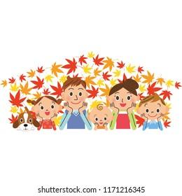 Autumn leaves family smile family