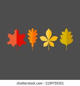Autumn leaves flat vector icons set. Tree leaves flat vector icons set