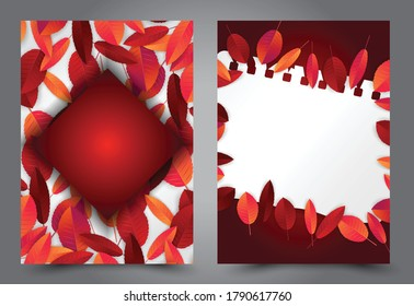 Autumn leaves flyer background set. Fall banner template. Red and orange foliage. Thanksgiving season holiday concept. Realistic 3d vector illustration.
