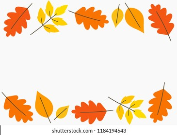 Autumn leaves frame background. Vector illustration