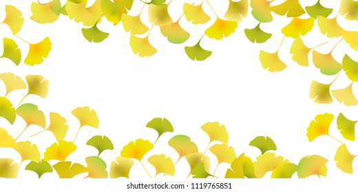 Autumn leaves ginkgo Japanese paper background