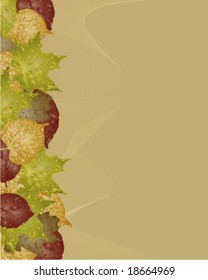 Autumn leaves grunge background, vector