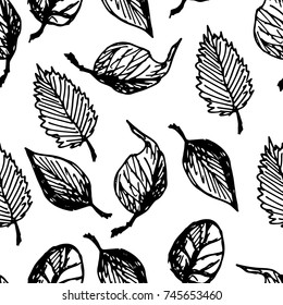 Autumn Leaves Hand Drawn Black On White Background Sketch Vector Seamless Pattern