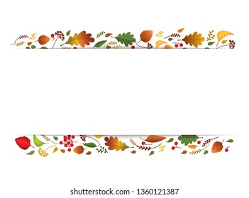 Autumn leaves for Happy Thanksgiving banner background. Stripe with colorful red, orange, yellow foliage. Elegant fall frame, herb nature border. Vector illustration template. Strip place for text.