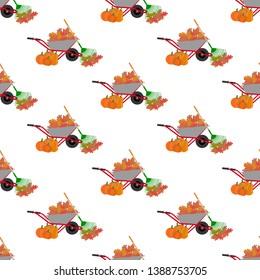 Autumn leaves harvest pattern isolated on white background. Vector illustration