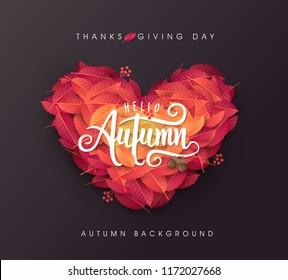 Autumn leaves Heart shape background.thanksgiving day vector illustration