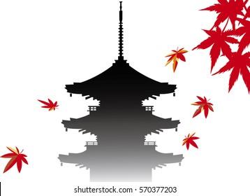 autumn leaves &  japanese temple
