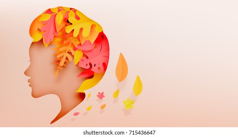 Autumn leaves paper cut style with girl side face silhouette concept background vector illustration