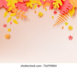 Autumn leaves paper cut style background vector illustration