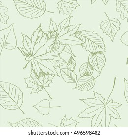 Autumn leaves seamless background in green