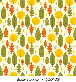 Autumn leaves seamless pattern. Decorative trees vector illustration. Cute forest background. Scandinavian style design for textile, wallpaper, fabric, decor.