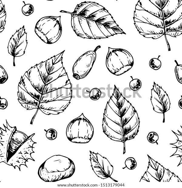 Autumn Leaves Seamless Pattern Isolated On Stock Vector (Royalty ...