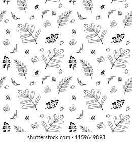 Autumn leaves seamless texture. Seamless botanical pattern. Scandinavian style. Black and white color.