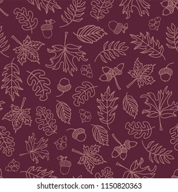 Autumn leaves seamless vector background. Light purple leaves on purple background. Acorn, oak tree, maple tree pattern. Doodle leaf print. Fall background, Thanksgiving, Seasonal print, paper, fabric