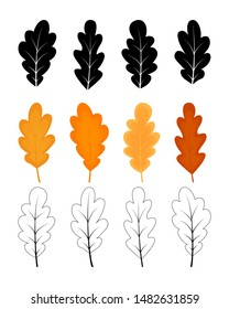 Autumn leaves set of oak tree. Oak leaves drawn in cartoon style with outline and silhouette added. Clip art elements for card, poster, banner, wallpaper, wrapping, textile, fabric, tile, print design