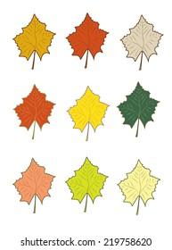 autumn leaves set, vector illustration