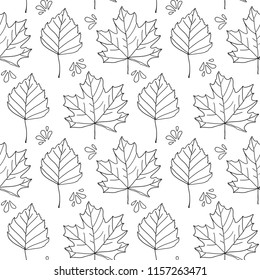 Autumn leaves. Vector monochrome seamless pattern with hand drawn outline leaves