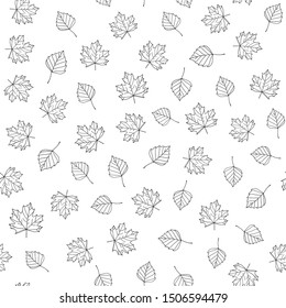Autumn leaves. Vector monochrome seamless pattern with hand drawn outline leaves. Sketch maple and birch leaves. Leaf fall ornament on white background