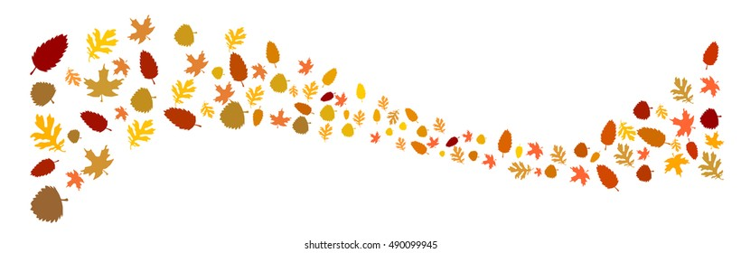 autumn leaves as a wave