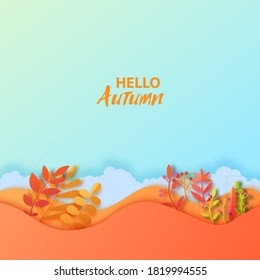 Autumn leaves wavy background in paper cut style. Vector 3d illustration of different color leaf, with realistic shadow. Cut out of cardboards elements, decoration of autumn holiday on blue background