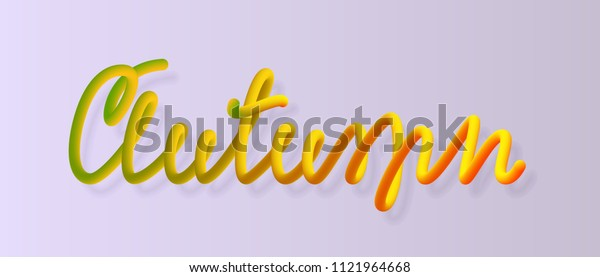 Autumn lettering Seasonal festive heading Element for design of posters, banners, web, posters, postcards Isolated object Vector illustration