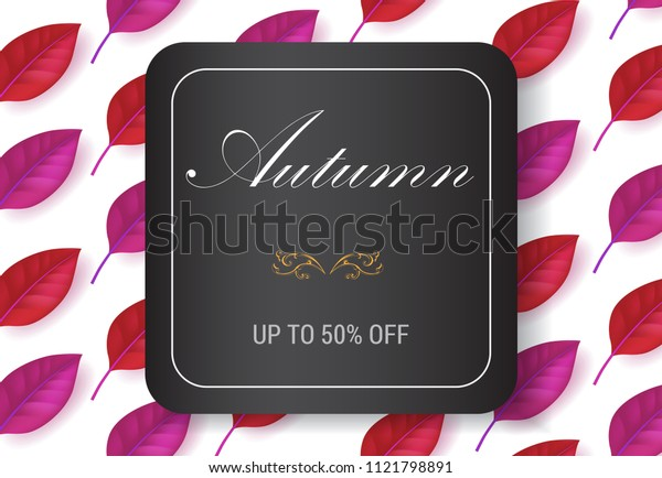 Autumn lettering in square frame with leaves pattern. Autumn offer or sale advertising design. Handwritten and typed text, calligraphy. For leaflets, brochures, invitations, posters or banners.