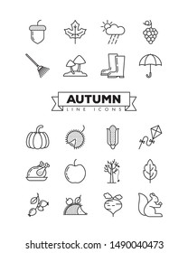 Autumn line icons set. Collection of fall related objects, plants and animals illustrations. Seasonal vector symbols.