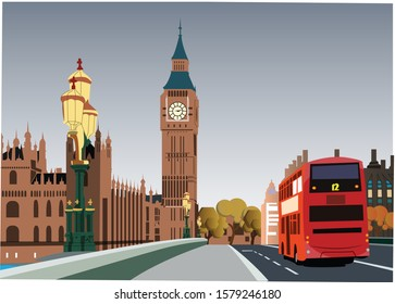 Autumn London, Red Bus and Big Ben
