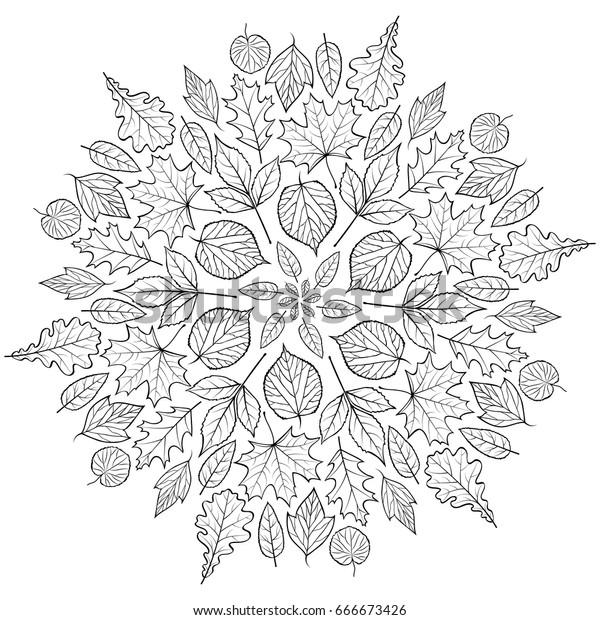 Sonbahar Mandala Beyaz Arka Plan Uzerinde Stok Vektor Telifsiz