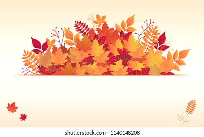 Autumn maple leaves background. Frame for text decorated with autumn leaf. Orange background with autumn leaves and space for write words. Vector illustration