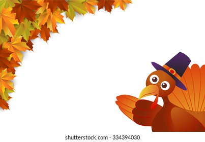 autumn , Maple leaves Background, Thanksgiving, turkey ,vector Illustration
