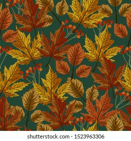 Autumn maple leaves with teal background pattern. Foliage, berries ditsy. Perfect for fall, Thanksgiving, holidays, fabric, textile. Seamless repeat swatch.