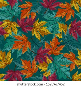 Autumn maple leaves with teal background pattern. Magenta, orange, golden foliage. Perfect for fall, Thanksgiving, holidays, fabric, textile. Seamless repeat swatch.