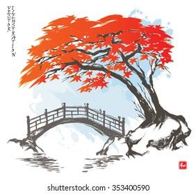 Autumn maple tree and bridge.