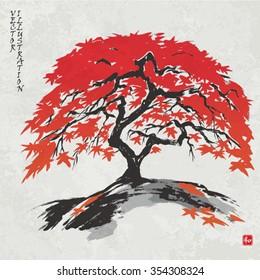 """Autumn maple tree in the fall. Vector illustration. Hieroglyph """"harmony"""""""