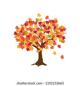 autumn maple tree, logo icon