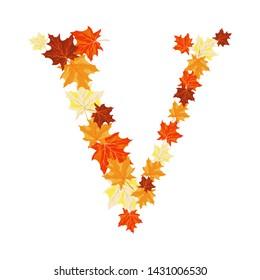 Autumn Maples Leaves Letter V. Golden Fall Design. Vector illustration.