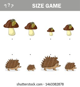 Autumn matching game for children, connect hedgehogs with mushrooms by size, preschool worksheet activity for kids