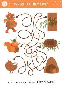 秋は子どもの迷路。 印刷可能な教育活動です。 可愛い木の国の動物とその家で、おかしな秋の季節のパズル。 彼らはどこに住んでいるのか。 子ども向けの森林ゲーム。