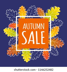 Autumn modern sale banner with orange square and modern autumn leaves. Fall vector poster background.