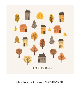 Autumn mood greeting card with cute tiny houses, trees poster template. Welcome fall season thanksgiving invitation. Minimalist postcard nature. Vector illustration in flat cartoon style