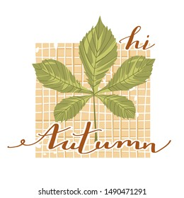 """Autumn mood. Stylish typography slogan design """"Hi autumn"""" sign. Chestnut leaf with checkered background and lettering. Vector."""