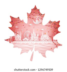 Autumn in Moscow, Russia with maple leave style in season concept for travel postcard, poster, tour advertising of world famous landmarks in paper cut style. Vector illustration.