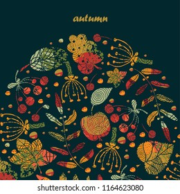 Autumn motif with leaves, fruits and berries. Rich decorated postcard. Autumn color palette. Vector.